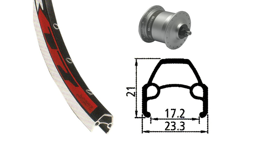 Rodi VR17 - Ruedas - Delantero, 622-17, 36h, con DH-3N30 dinamo de buje Plateado